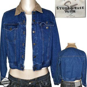 Vintage 90s Studio Petite Crop Denim Jean Jacket
